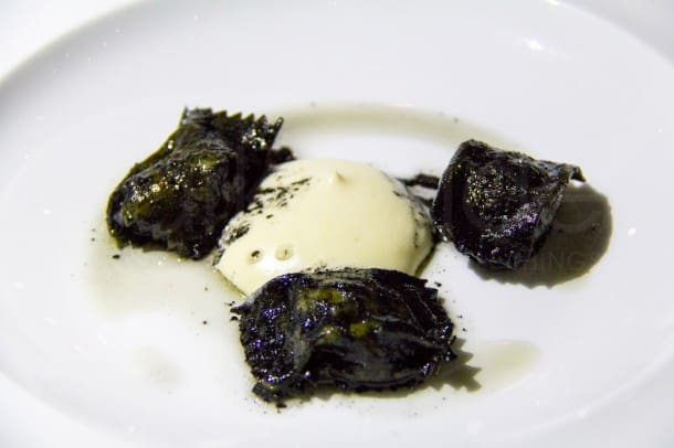 """Michael Tusk's (Quince, San Francisco) Fagotelli of Four Story Hill Farm of Sweetbread and Black Truffle was controversial not because of its taste (exceptional) but because of the big debate: was that cream/paste in the center actually """"foam""""?"""