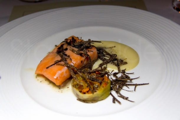Chef Ken Frank's Truffled Loch Duart Salmon Slow Cooked in Duck Fat was a standout at last night's Truffles & Wine Dinner at La Toque in Napa.