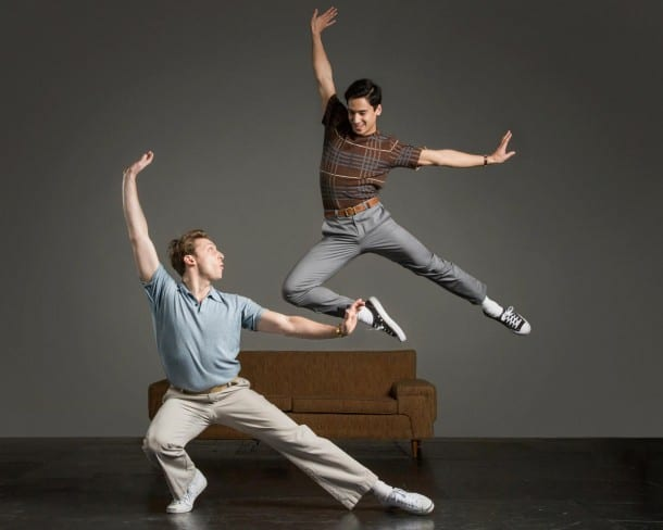 Jamie McRea (Leo Ash Evens) & Alejandro Candelaria (Michael Rosen) in TheatreWorks Somewhere. (Photo: Tracy Martin)