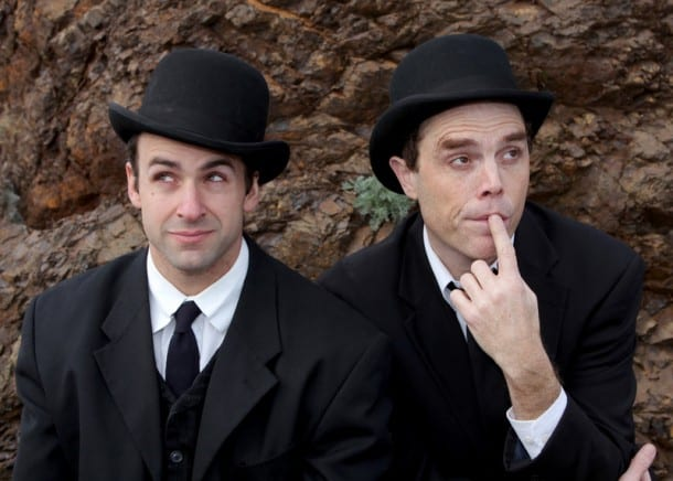 Oregon Shakespeare Festival company member Mark Bedard and Mark Anderson Phillips in Samuel Beckett's Waiting for Godot at Marin Theatre Company,