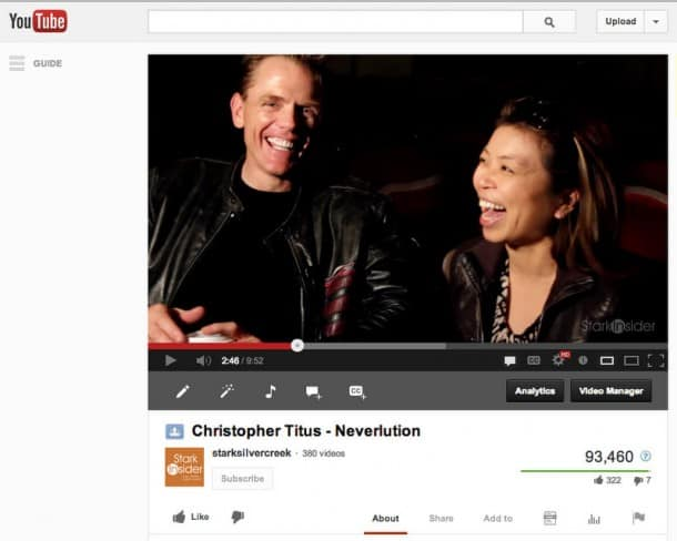 Christopher Titus: A great interviewee, and Stark Insider's most viewed video. The title is short, basic, and increases likelihood of his fans clicking through.