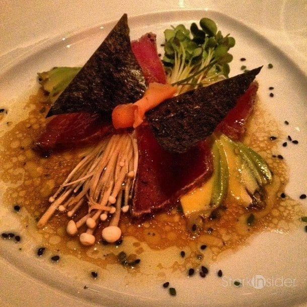 Gary Danko Delights all the Senses: Ahi Tuna, whimsically plated as a butterfly.