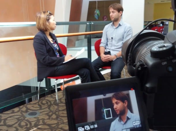 On location in San Jose, filming interview with Mad Men actor Vincent Kartheiser (Pete Campbell).