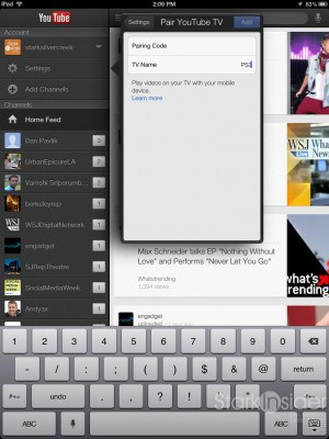 To setup Direct to TV, enter a code into the iPad generated by the YouTube app.