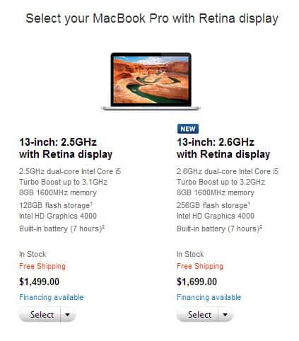 An Apple MacBook Pro with Retina Display can now be had for $1,499 - a $200 (12%) discount from the launch price.