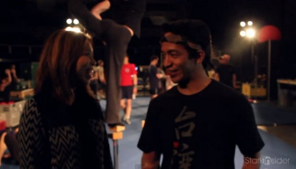 Loni Stark talks with Ardee Dionisio backstage at the touring production of Cirque du Soleil's Quidam.
