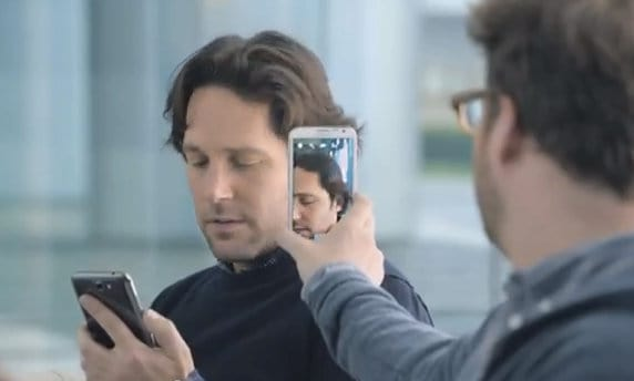 """The Big Pitch"" - actors Paul Rudd and Seth Rogen star in Samsung's $15 million Super Bowl ad featuring Android smartphones."