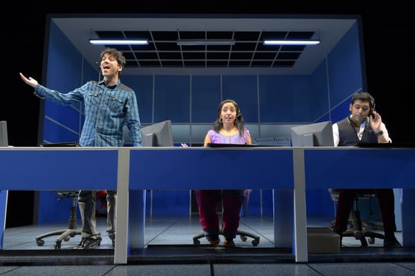 Call center employees Ross (Imran Sheikh), Vidya (Sharone Sayegh) and Giri (Ray Singh) in San Jose Rep's West Coast premiere of Disconnect.