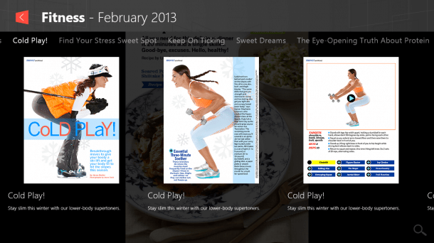 Next Issue is now available for Windows 8. The updated interface features a handy carousel view.