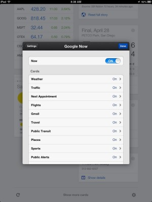 Google Now Cards - iPad Mini