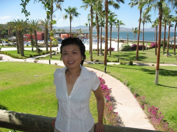 My wife Loni at the Inn at Loreto Bay during a Loreto Bay sales event.