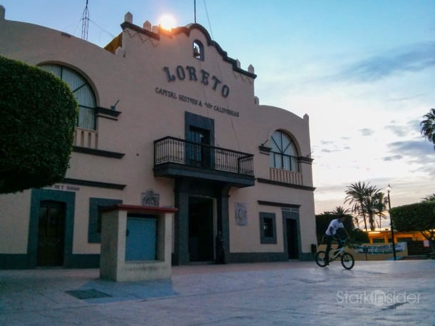 City Hall, downtown Loreto. Recently modernized with a fresh coat of paint, and new plaza courtyard, yet charm still intact.