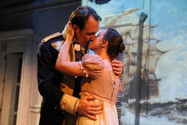 Will Springhorn Jr. as Captain Frederick Wentworth and Maryssa Wanlass as Anne Elliot in San Jose Stage Company's World Premiere of Jane Austen's 'Persuasion', adapted by Jennifer Le Blanc. (Photo: Dave Lepori)