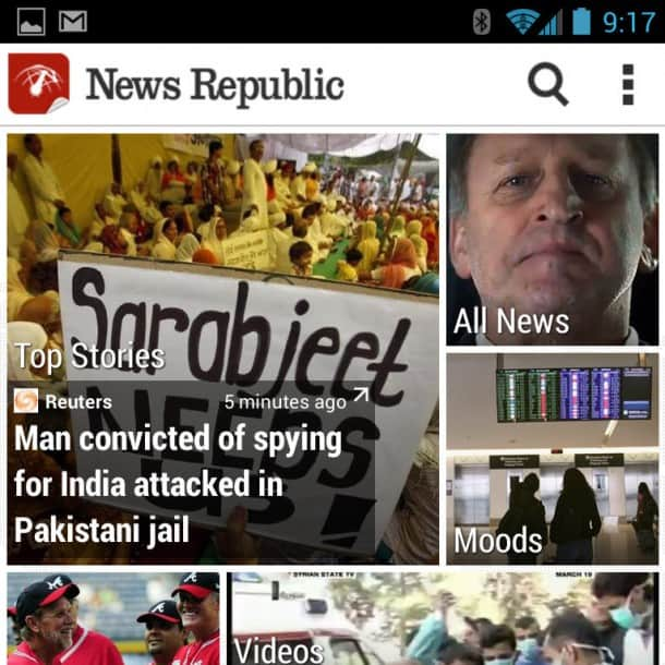 News Republic App: Uses the same content engine as Blinkfeed, found on the new HTC One.