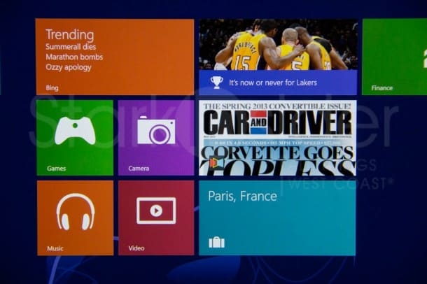 Magazines can be pinned, like Car & Driver above, to the Windows 8 start screen.