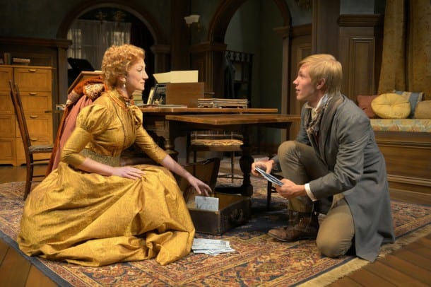 Candida (Sharon Rietkerk) and Eugene Marchbanks (Tim Homsley) in San Jose Rep's West Coast premiere of A Minister's Wife.