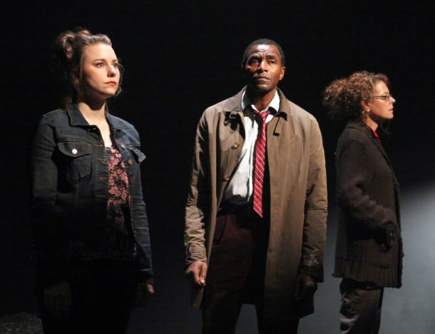 """Marissa Keltie, Carl Lumbly, and Stacy Ross in the first American production of Mark O'Rowe's """"Terminus"""" at Magic Theatre."""