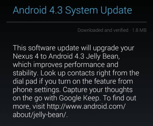 Android 4.3 Update - Nexus 4