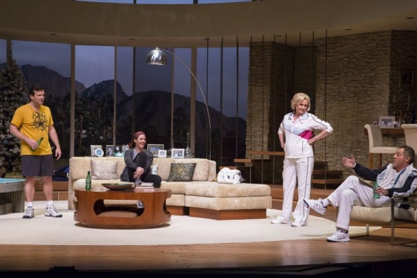 The Wyeth family (l-r) - Trip (Rod Brogan), Brooke (Kate Turnbull), Polly (Kandis Chappell), and Lyman (James Sutorius) - reunite in Palm Springs in TheatreWorks' Regional Premiere of OTHER DESERT CITIES by Jon Robin Baitz.