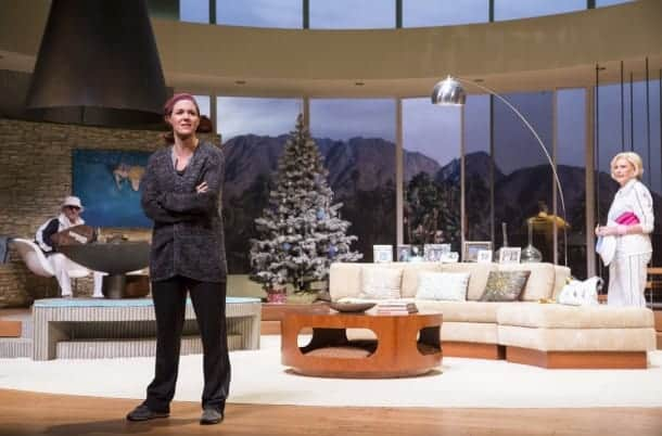 Brooke (Kate Turnbull, center) returns to Palm Springs to celebrate Christmas with her parents Lyman (James Sutorius, left) and Polly (Kandis Chappell, right) in TheatreWorks'  Regional Premiere of OTHER DESERT CITIES  by Jon Robin Baitz