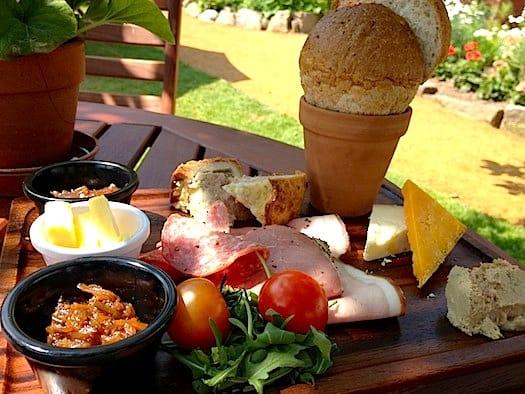 Lunch outside Gardener's cottage