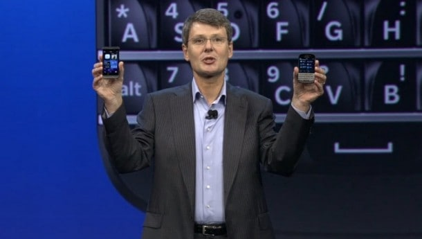 Happier Times: BlackBerry CEO Thornsten Heins unveils the Z10 and N10 smartphones in Q1 2013.