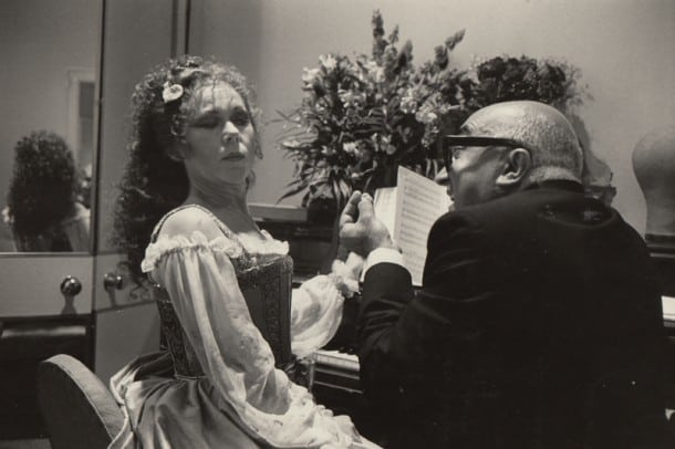 Lotfi Mansouri and Renata Scotto  La Gioconda at San Francisco Opera, 1979.