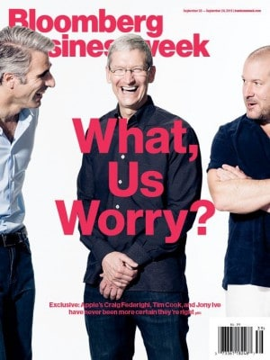 """Cover Story on latest issue of Businessweek: Apple CEO Tim Cook and lieutenants """"have never been more certain they're right."""