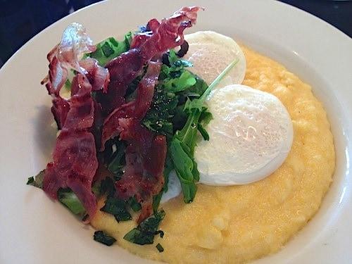 Farm fresh eggs, polenta, herbs and frizzled prosciutto for breakfast