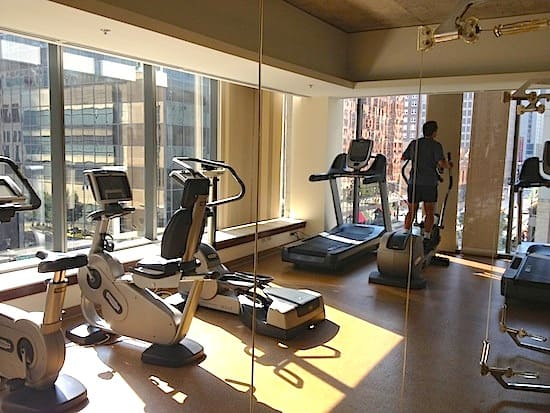 Not your typical dark hotel gym