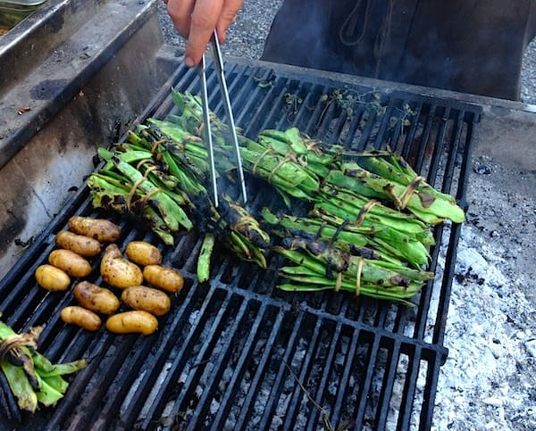 Grilling flavorful organic veggies for our dinner