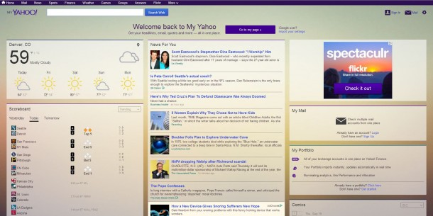 New My Yahoo! home page. Yahoo is wooing iGoogle users with an import feature.
