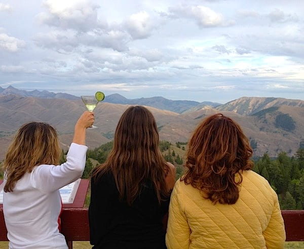 Fellow IFWTWA members toasting (repeatedly) the gorgeous mt. views