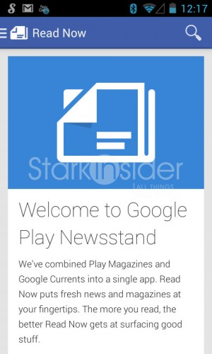 Google Play Newsstand for Android tablets, smartphones