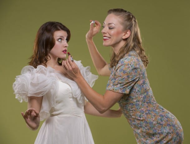 """Peggy Palaffi"" (Allison Rich, right) teaches the innocent angel ""Brigitta""(Kari Yancy, left) how to be irresistible in I MARRIED AN ANGEL at 42nd Street Moon,  playing Oct 30 - Nov 17 at The Eureka Theatre"