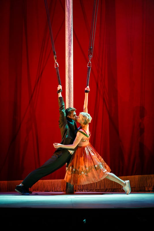 Andrew Durand (Tristan) and Patrycja Kujawska (Yseult) perform the title roles in the West Coast premiere of Kneehigh's Tristan & Yseult.