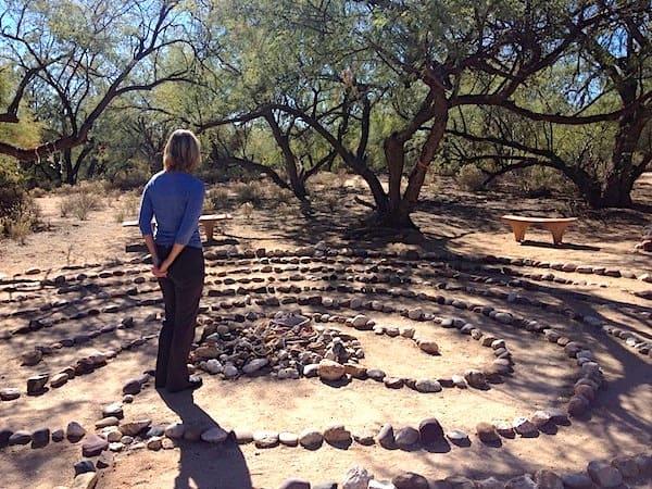 Joan at the labyrinth
