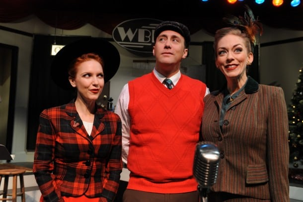 """San Jose Stage Company's """"It's A Wonderful Life: A Live Radio Play"""" adapted by Joe Landry featuring Halsey Varady, Will Springhorn Jr. and Allison F. Rich. Plays through December 22nd, 2013 at The Stage – 490 South First Street, San Jose, California. (Photo: Dave Lepori)"""