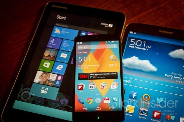 LG Nexus 5 with Lenovo Miix 2 and Samsung Tab 7 tablet