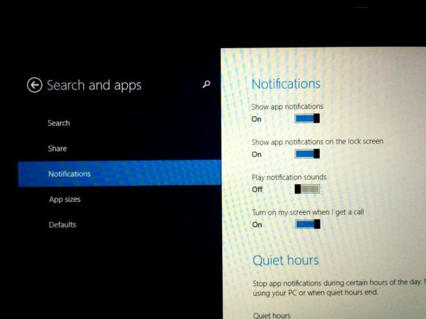 Notification options in Windows 8 are limited.