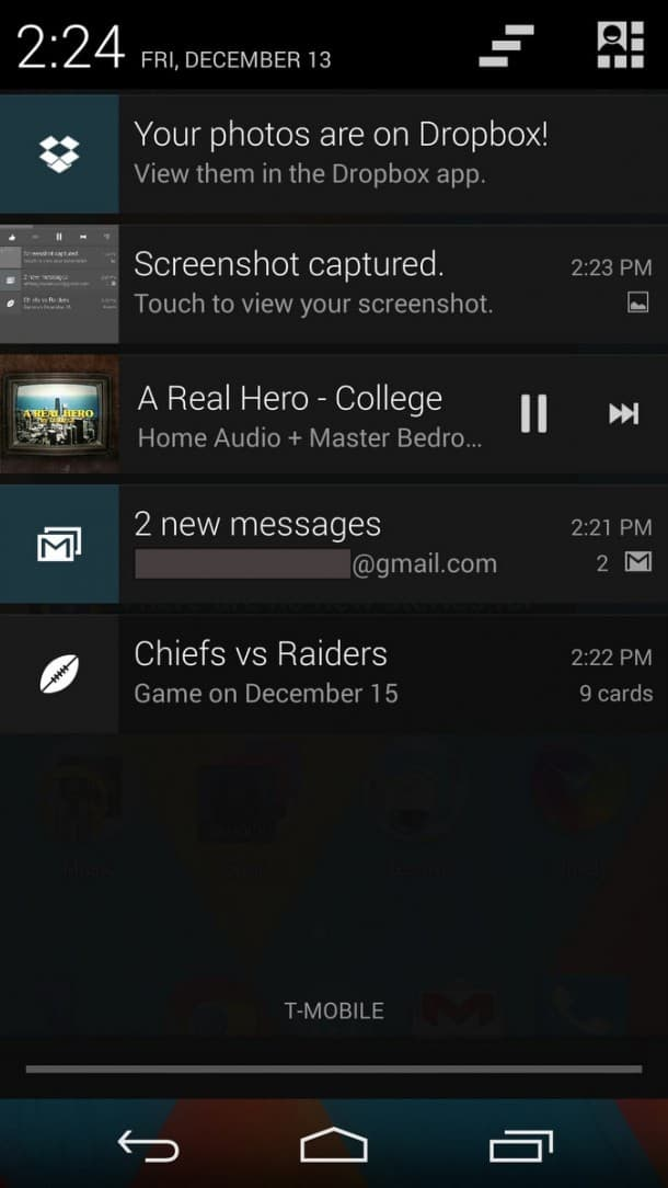 Android 4.4.2 on Nexus 5. Google's notification system is still best-in-class.
