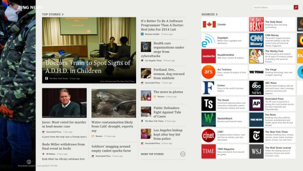 Windows 8 Bing apps, such as News above, are fast, beautifully designed and among the best mobile apps available on any platform.