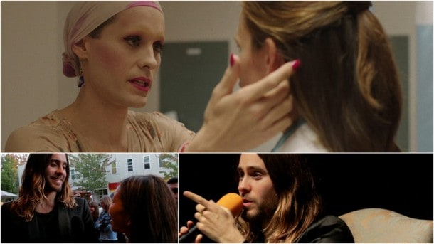Jared Leto, above, in Dallas Buyers Club, and speaking at the Mill Valley Film Festival.