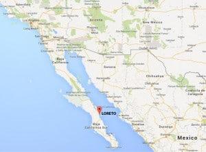 Map of Loreto, Baja California Sur, Mexico
