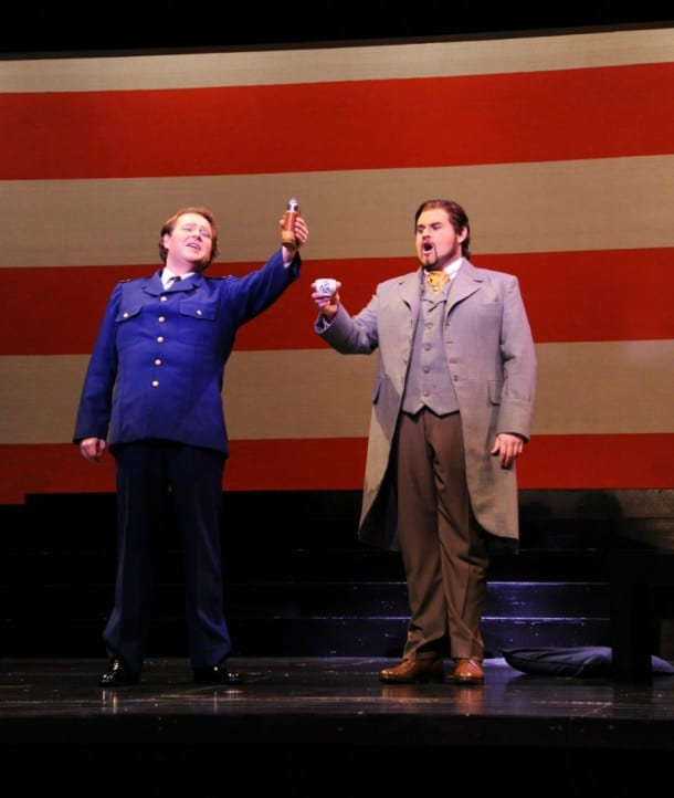 Cast A: Tenor Christopher Bengochea as BF Pinkerton and baritone Evan Brummel as Sharpless.