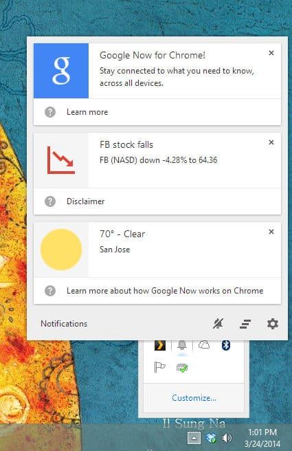 Google Now for Chrome