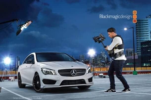 Blackmagic Cinema Camera filming Mercedes-Benz CLA sedan