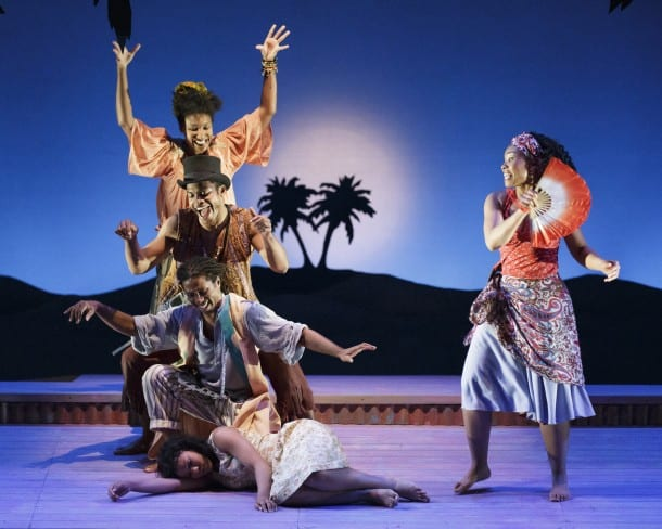 Clockwise, from bottom right: Ti Moune (Salisha Thomas),  Agwe, God of Water (Omari Tau), Papa Ge, Demon of Death (Max Kumangai), Asaka, Mother of the Earth  (Safiya Fredericks), and Erzulie, Goddess of Love  (Adrienne Muller) in TheatreWorks' musical  ONCE ON THIS ISLAND, playing March 5-30, 2014 at the  Lucie Stern Theatre in Palo Alto
