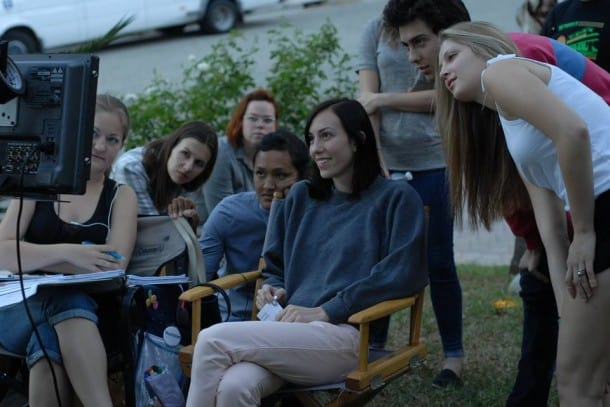 Gia Coppola on set of PALO ALTO