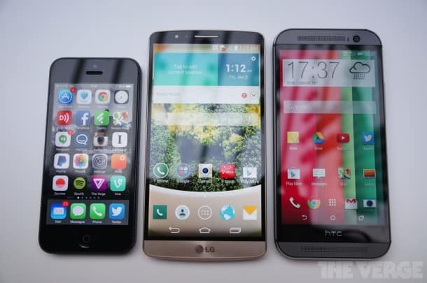 Apple iPhone 5S, LG G3, and HTC One (M8)